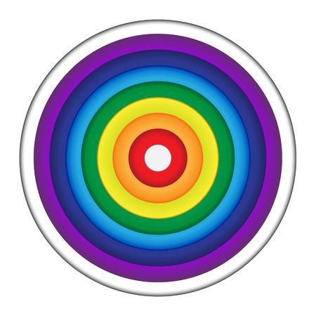Rainbow Circle Paper on white background Ilustracja