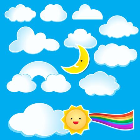 Cartoon clouds and sun on blue sky