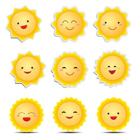Cute cartoon sun emoticons Ilustracja