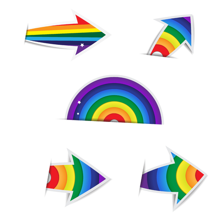 Rainbow Arrow Paper on white background Ilustracja
