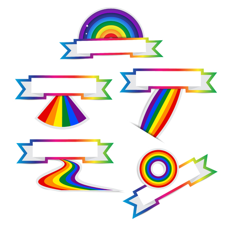 Set of rainbow ribbon colorful stickers