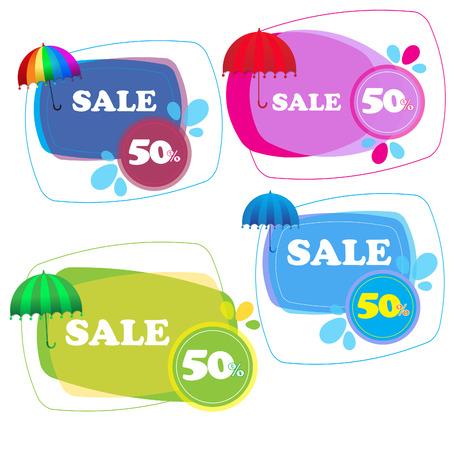 Umbrella stickers collection isolated on white Ilustracja