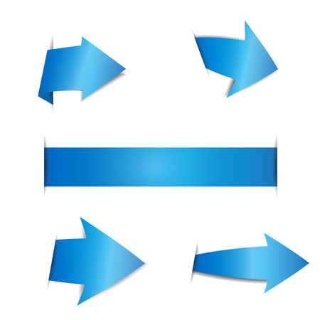 Blue arrow stickers on white background