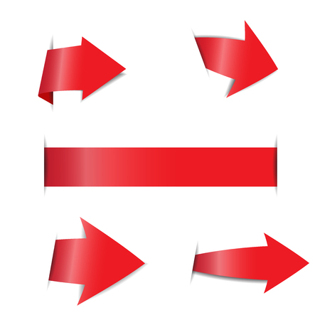 Red arrow stickers on white background