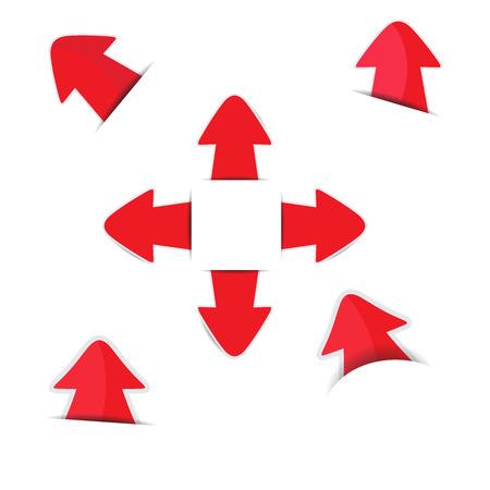 Red arrow stickers with shadow Ilustracja