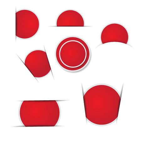 Red circle stickers on white background