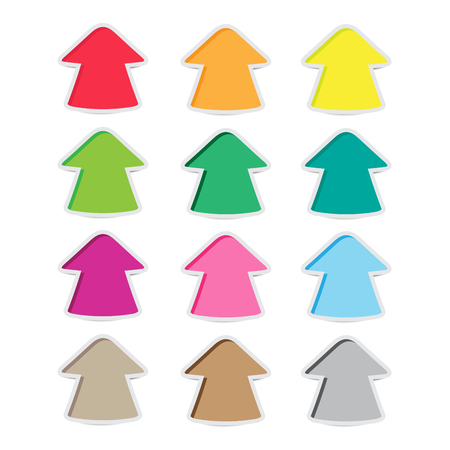 color bright arrow stickers with shadow
