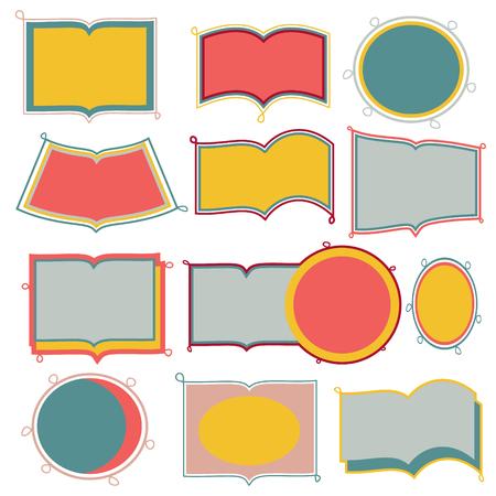 cute doodle frames on white background Ilustracja