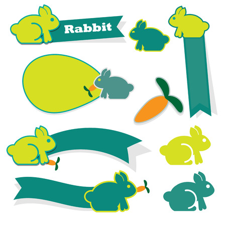 Cute rabbit icon on white background