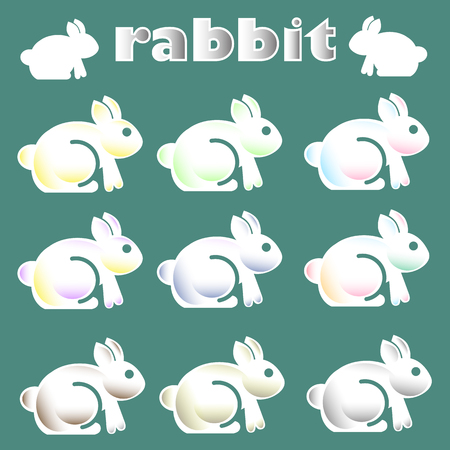 Cute white rabbit icon Ilustracja