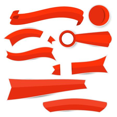 Red paper ribbon on white background Ilustracja