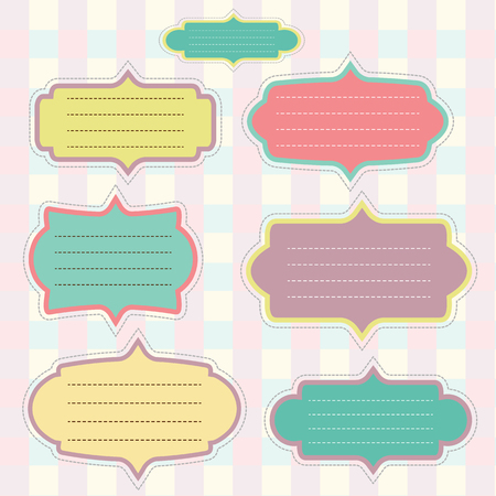 Retro paper label set for your text input