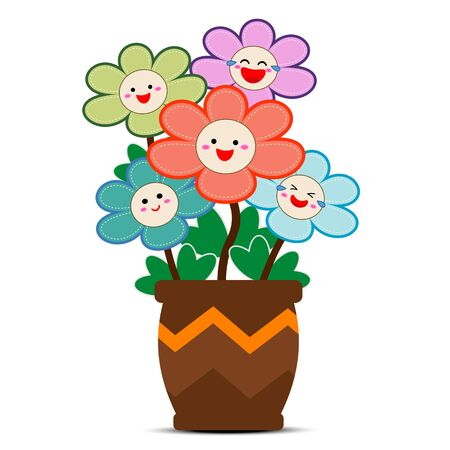Colorful flowers with smiles on faces and potted