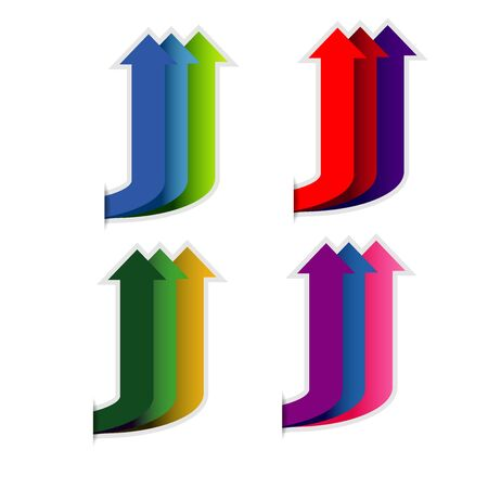 Colorful up arrow on white background
