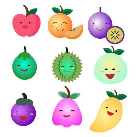 Cute fruit flat icon set Ilustracja