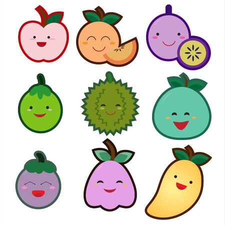 Cute fruit set on a white background