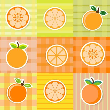 Cute orange fruit stickers