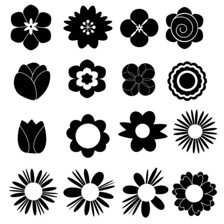 Flower set icon on white background