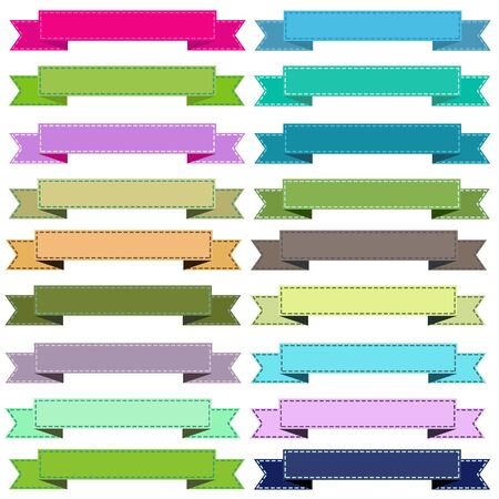 Colorful cute ribbons on white background