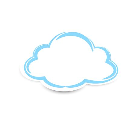 Sticker clouds with shadow on white background