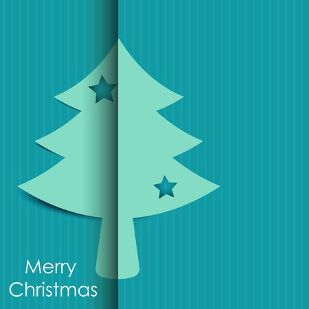 Merry Christmas tree paper with shadow background