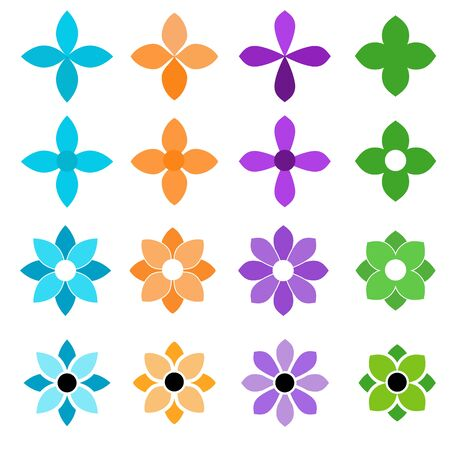 colorful flower icon set on a white background