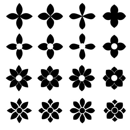 Flowers icon set on white background