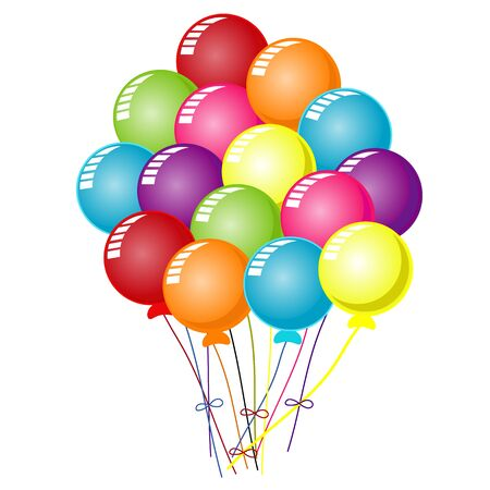 Colorful balloons on white Ilustrace