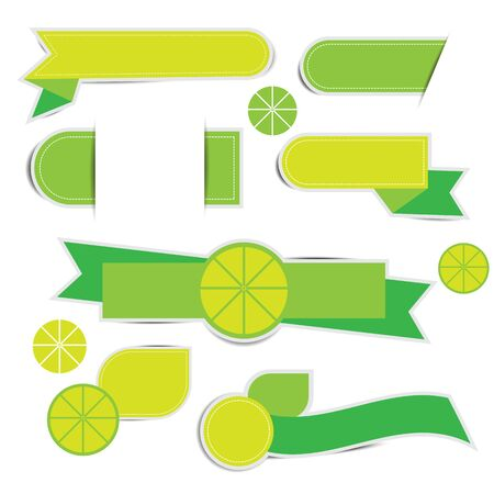 Green Ribbon Banner Label on white background