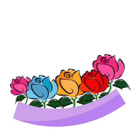 colorful rose painting on white background