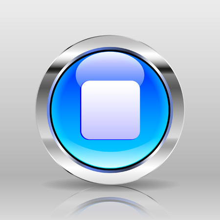 glass button: Vector Blue Glass Button - Stop icon