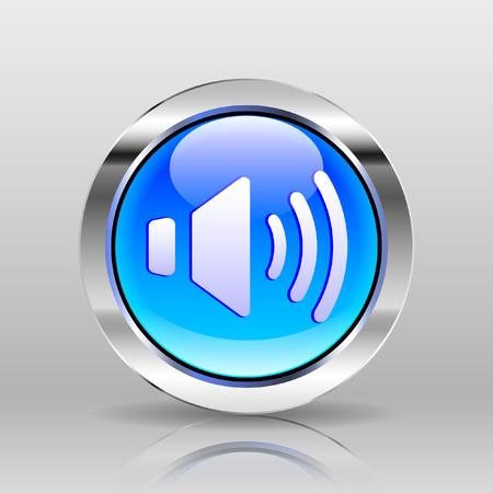 glass button: Vector Blue Glass Button - Maximal Volume icon