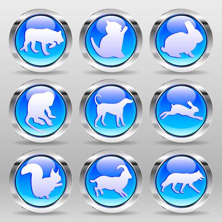 glass buttons: Blue Glass Buttons - Animals Set