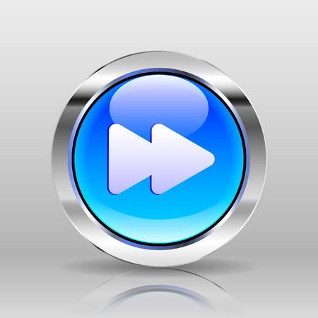 forward icon: Vector Blue Glass Button - Forward icon