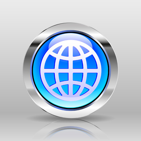 silver reflection: Vector Blue Glass Button - Globe icon Illustration