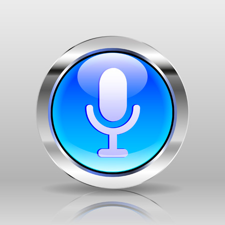glass button: Vector Blue Glass Button - Microphone icon