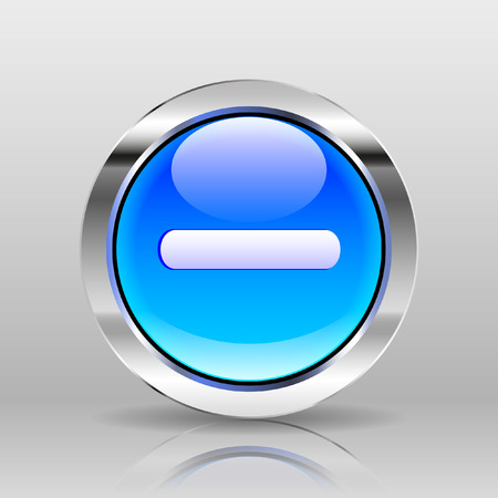 minus: Vector Blue Glass Button - Minus icon