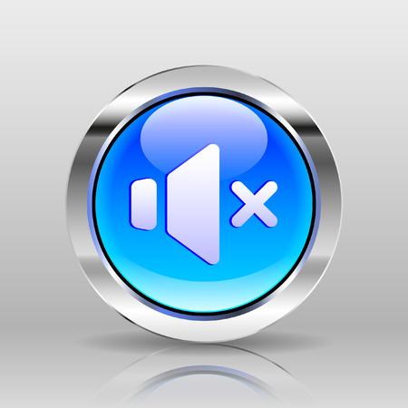 glass button: Vector Blue Glass Button - Mute icon