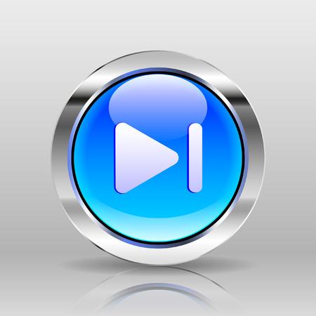 glass button: Vector Blue Glass Button - Next icon Illustration
