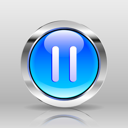 pause icon: Vector Blue Glass Button - Pause icon