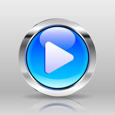 glass button: Vector Blue Glass Button - Play icon