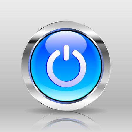 power button: Vector Blue Glass Button - Power icon