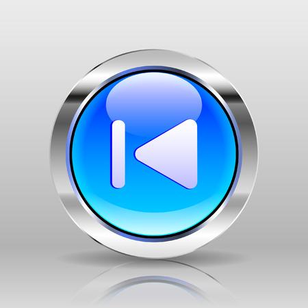 previous: Vector Blue Glass Button - Previous icon