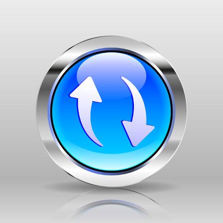 glass button: Vector Blue Glass Button - Repeat icon