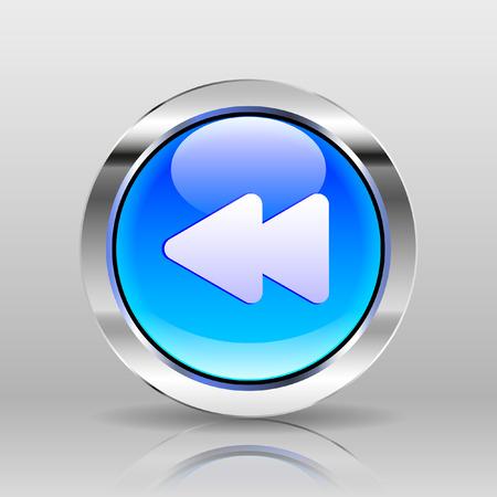 rewind: Vector Blue Glass Button - Rewind icon