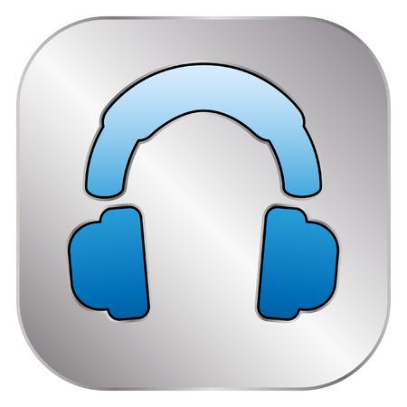 silver: Headphones icon - Silver Button