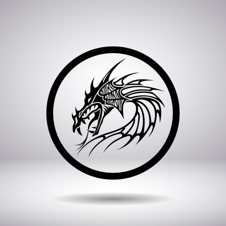 flying dragon: Dragon head silhouette in a circle