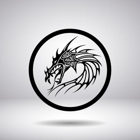 tribal dragon: Dragon head silhouette in a circle