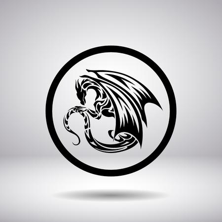 tribal dragon: Dragon silhouette in a circle Illustration