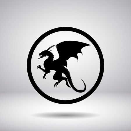 flying dragon: Dragon silhouette in a circle Illustration